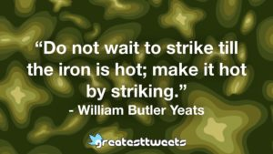 """Do not wait to strike till the iron is hot; make it hot by striking."" - William Butler Yeats"