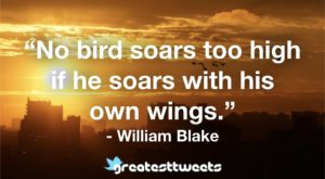 """""""No bird soars too high if he soars with his own wings."""" - William Blake"""