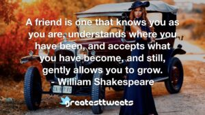 A friend is one that knows you as you are, understands where you have been, and accepts what you have become, and still, gently allows you to grow. - William Shakespeare