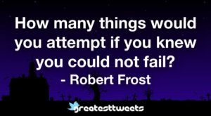 How many things would you attempt if you knew you could not fail? - Robert Frost