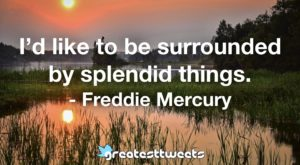 I'd like to be surrounded by splendid things. - Freddie Mercury