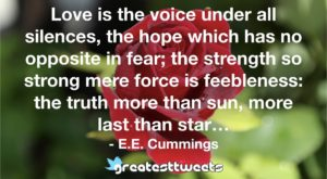 Love is the voice under all silences, the hope which has no opposite in fear; the strength so strong mere force is feebleness: the truth more than sun, more last than star… - E.E. Cummings