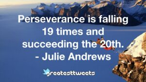 Perseverance is falling 19 times and succeeding the 20th. - Julie Andrews