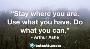 Stay where you are. Use what you have. Do what you can. - Arthur Ashe