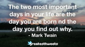 The two most important days in your life are the day you are born nd the day you find out why. - Mark Twain