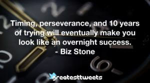 Timing, perseverance, and 10 years of trying will eventually make you look like an overnight success. - Biz Stone