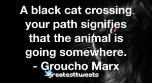 A black cat crossing your path signifies that the animal is going somewhere. - Groucho Marx