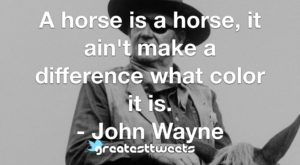 A horse is a horse, it ain't make a difference what color it is. - John Wayne