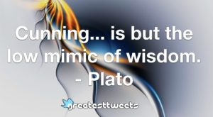 Cunning... is but the low mimic of wisdom. - Plato