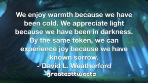 We enjoy warmth because we have been cold. We appreciate light because we have been in darkness. By the same token, we can experience joy because we have known sorrow.- David L. Weatherford.001