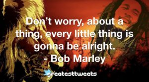 Don't worry, about a thing, every little thing is gonna be alright. - Bob Marley