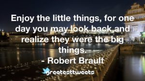 Enjoy the little things, for one day you may look back and realize they were the big things. - Robert Brault