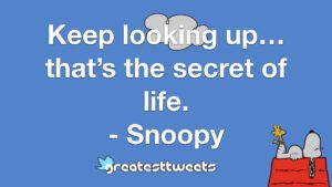 Keep looking up… that's the secret of life. - Snoopy