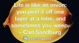 Life is like an onion: you peel it off one layer at a time, and sometimes you weep. - Carl Sandburg