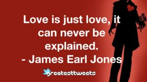 Love is just love, it can never be explained. - James Earl Jones
