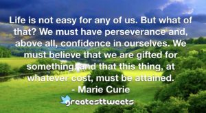 Life is not easy for any of us. But what of that? We must have perseverance and, above all, confidence in ourselves. We must believe that we are gifted for something, and that this thing, at whatever cost, must be attained.- Marie Curie.001