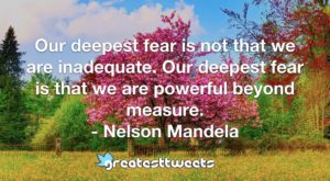 Our deepest fear is not that we are inadequate. Our deepest fear is that we are powerful beyond measure. - Nelson Mandela