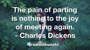 The pain of parting is nothing to the joy of meeting again. - Charles Dickens