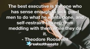 The best executive is the one who has sense enough to pick good men to do what he wants done, and self-restraint to keep from meddling with them while they do it.- Theodore Roosevelt.001