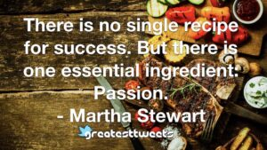 There is no single recipe for success. But there is one essential ingredient: Passion. - Martha Stewart