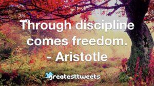 Through discipline comes freedom. - Aristotle