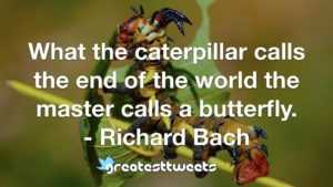 What the caterpillar calls the end of the world the master calls a butterfly. - Richard Bach