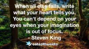 When all else fails, write what your heart tells you. You can't depend on your eyes when your imagination is out of focus. - Steven King