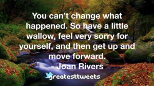 You can't change what happened. So have a little wallow, feel very sorry for yourself, and then get up and move forward. - Joan Rivers