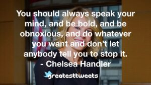 You should always speak your mind, and be bold, and be obnoxious, and do whatever you want and don't let anybody tell you to stop it. - Chelsea Handler