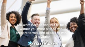 You were born to win, but to be a winner you must plan to win, prepare to win, and expect to win. - Zig Ziglar