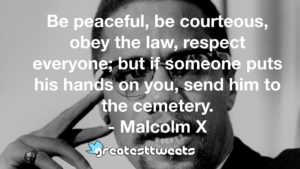 Be peaceful, be courteous, obey the law, respect everyone; but if someone puts his hands on you, send him to the cemetery. - Malcolm X