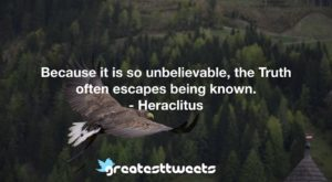 Because it is so unbelievable, the Truth often escapes being known. - Heraclitus