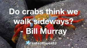 Do crabs think we walk sideways? - Bill Murray