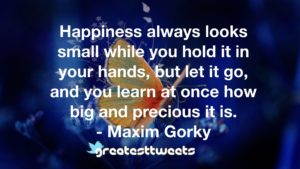 Happiness always looks small while you hold it in your hands, but let it go, and you learn at once how big and precious it is. - Maxim Gorky