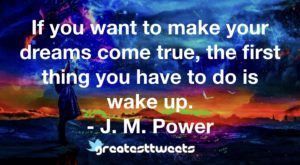 If you want to make your dreams come true, the first thing you have to do is wake up. - J. M. Power
