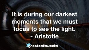 It is during our darkest moments that we must focus to see the light. - Aristotle