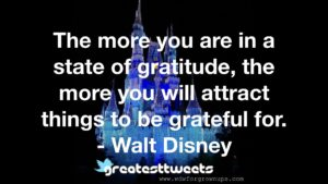The more you are in a state of gratitude, the more you will attract things to be grateful for. - Walt Disney