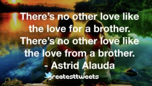 There's no other love like the love for a brother. There's no other love like the love from a brother. - Astrid Alauda