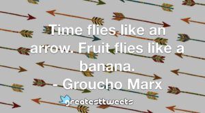 Time flies like an arrow. Fruit flies like a banana. - Groucho Marx