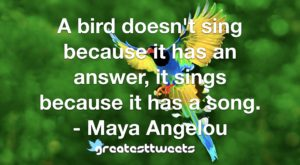 A bird doesn't sing because it has an answer, it sings because it has a song. - Maya Angelou