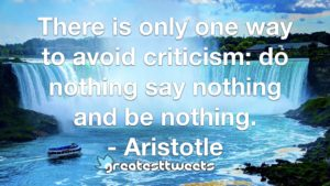 There is only one way to avoid criticism: do nothing say nothing and be nothing. - Aristotle