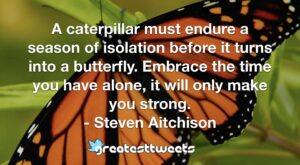 A caterpillar must endure a season of isolation before it turns into a butterfly. Embrace the time you have alone, it will only make you strong. - Steven Aitchison