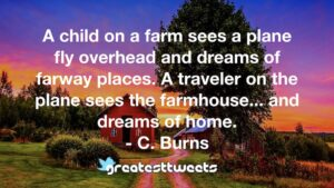 A child on a farm sees a plane fly overhead and dreams of farway places. A traveler on the plane sees the farmhouse... and dreams of home. - C. Burns