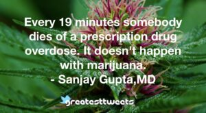 Every 19 minutes somebody dies of a prescription drug overdose. It doesn't happen with marijuana. - Sanjay Gupta,MD