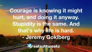 Courage is knowing it might hurt, and doing it anyway. Stupidity is the same. And that's why life is hard. - Jeremy Goklberg