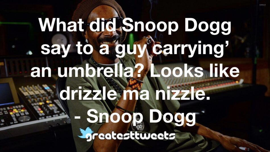 What did Snoop Dogg say to a guy carrying' an umbrella? Looks like drizzle ma nizzle. - Snoop Dogg