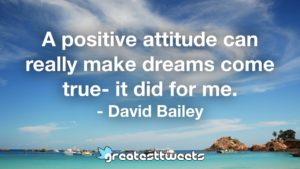A positive attitude can really make dreams come true- it did for me. - David Bailey