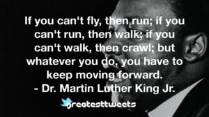 If you can't fly, then run; if you can't run, then walk; if you can't walk, then crawl; but whatever you do, you have to keep moving forward. - Dr. Martin Luther King Jr.