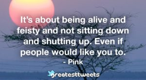 It's about being alive and feisty and not sitting down and shutting up. Even if people would like you to. - Pink