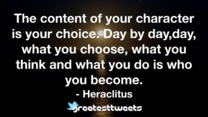 The content of your character is your choice. Day by day,day, what you choose, what you think and what you do is who you become. - Heraclitus